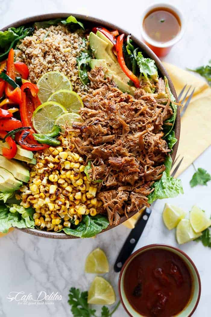 Chipotle Lime Carnitas Salad | Crispy Carnitas in a salad drizzled with an incredible Chipotle Lime Dressing and a low carb Cilantro Lime Rice! | http://cafedelites.com