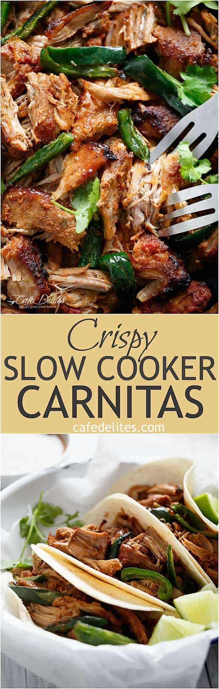 Crispy Slow Cooker Carnitas | https://cafedelites.com