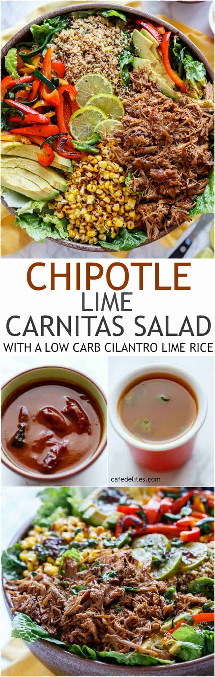 Chipotle Lime Carnitas Salad | Crispy Carnitas in a salad drizzled with an incredible Chipotle Lime Dressing and a low carb Cilantro Lime Rice! | https://cafedelites.com