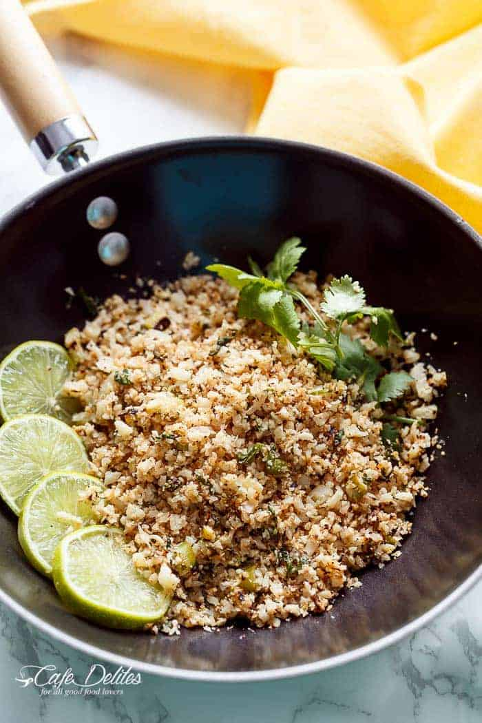 Cilantro Lime Cauliflower Rice | https://cafedelites.com