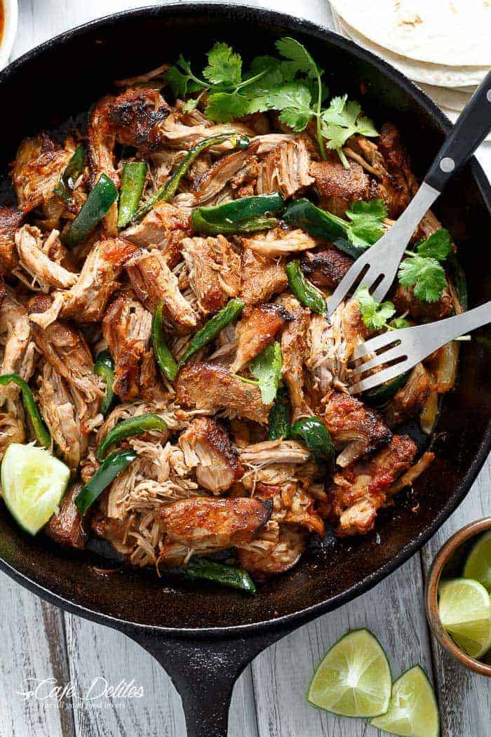 Crispy Slow Cooker Carnitas (Mexican Pulled Pork)
