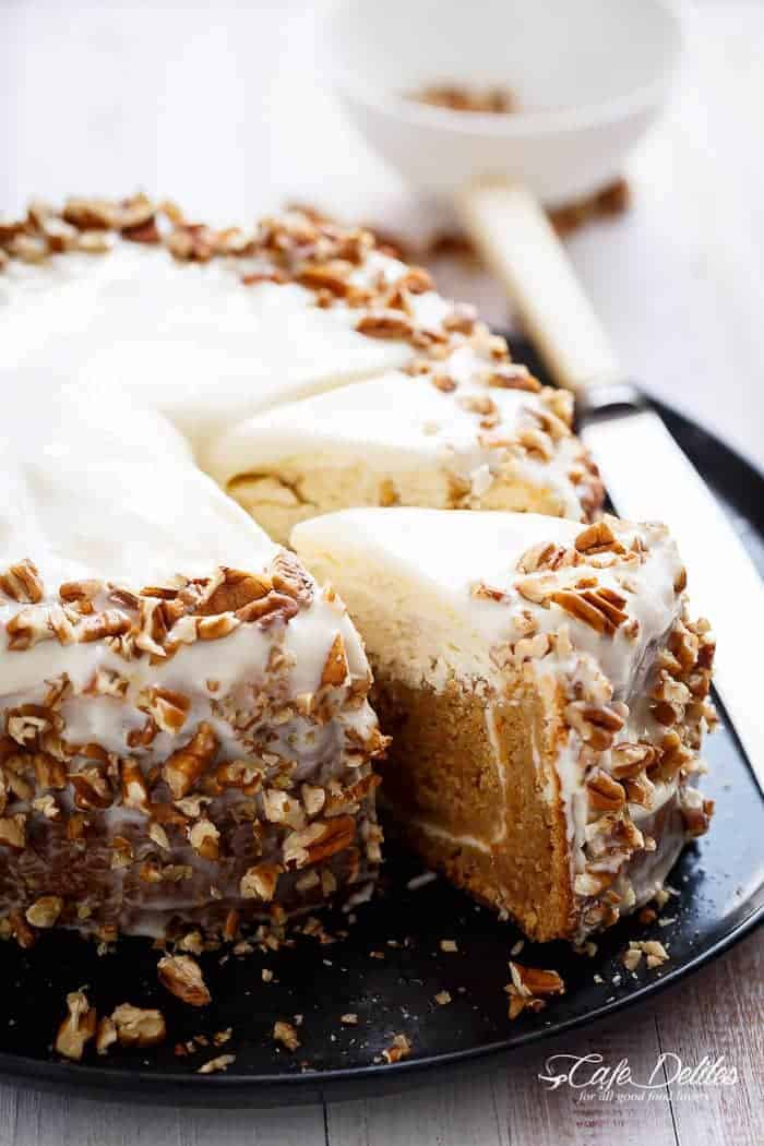 Carrot Cake Lemon Cheesecake | http://cafedelites.com