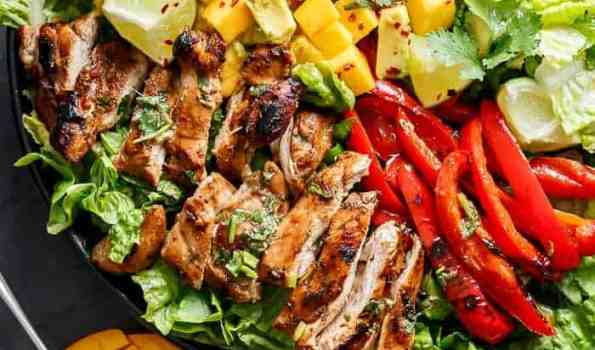Easy Grilled Cilantro Lime Chicken Salad With A Mango Salsa! | http://cafedelites.com