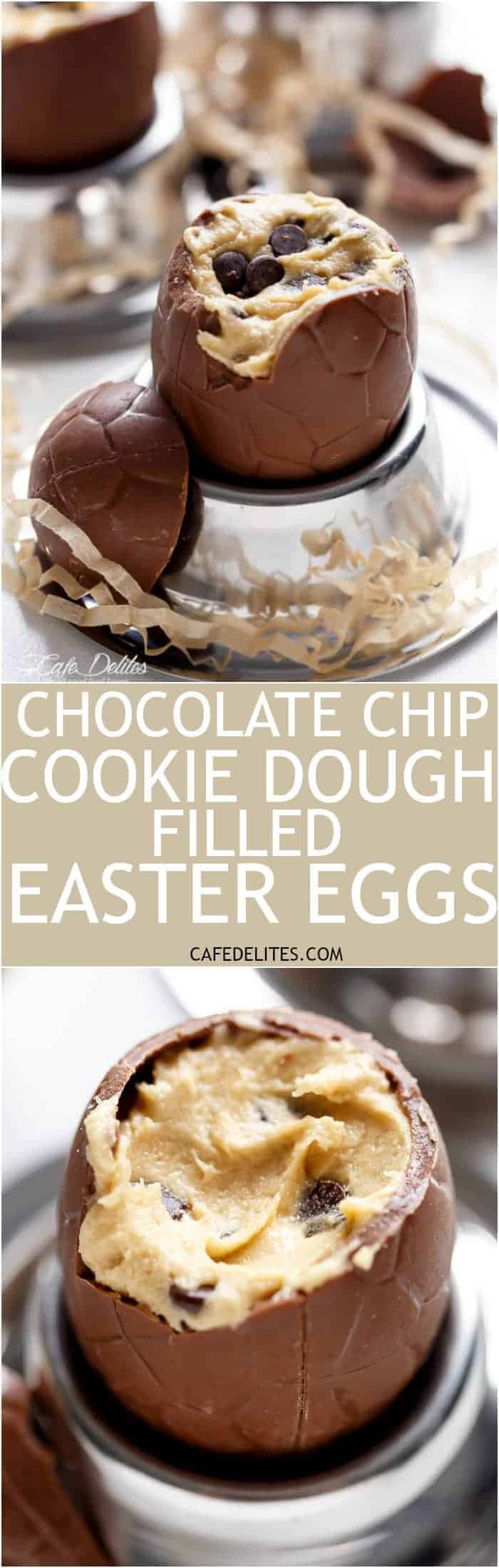 Chocolate Chip Cookie Dough Filled Easter Eggs! Perfect for any event, party OR to use up those Easter eggs in a completely decadent way! | https://cafedelites.com