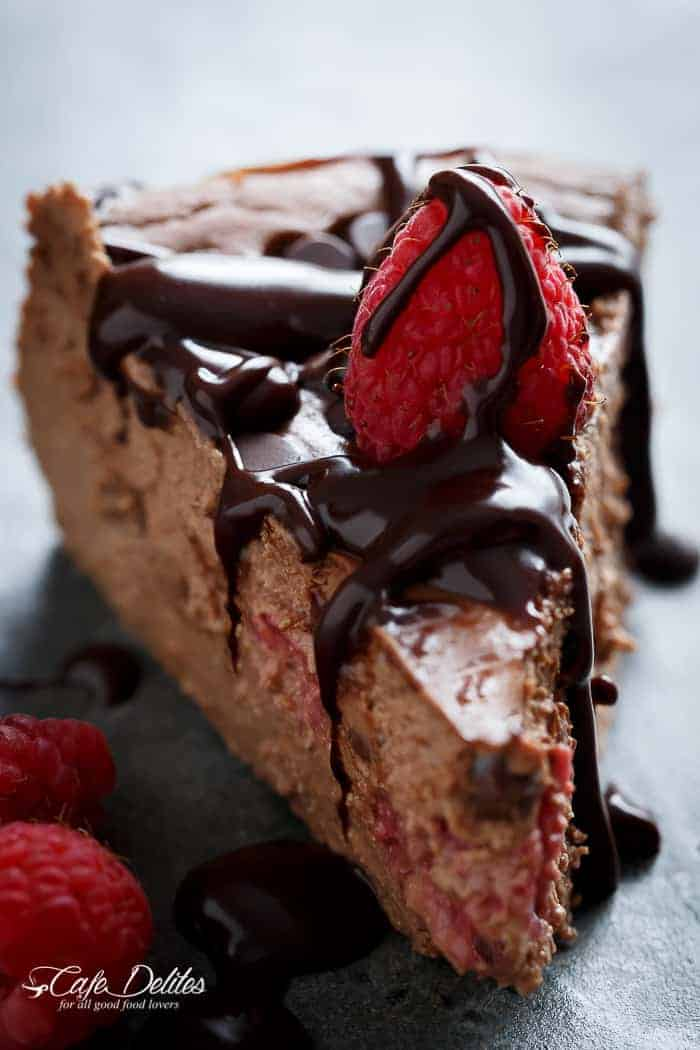 Crustless Chocolate Raspberry Cheesecake-14