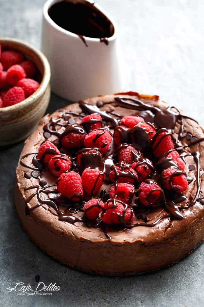 Crustless Chocolate Raspberry Cheesecake-4