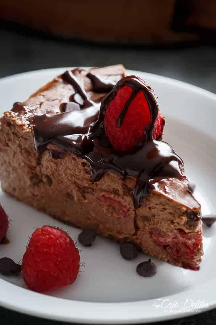 Crustless Chocolate Raspberry Cheesecake-42