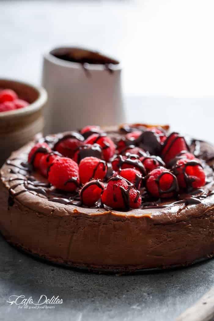 Crustless Chocolate Raspberry Cheesecake-9