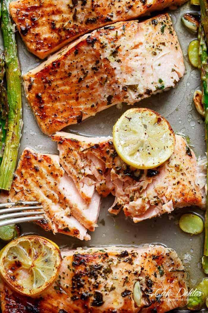One Pan Lemon Garlic Baked Salmon + Asparagus | http://cafedelites.com