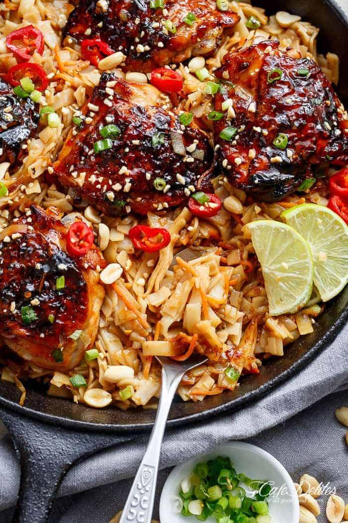 One Skillet Thai Chicken Thighs + Noodles