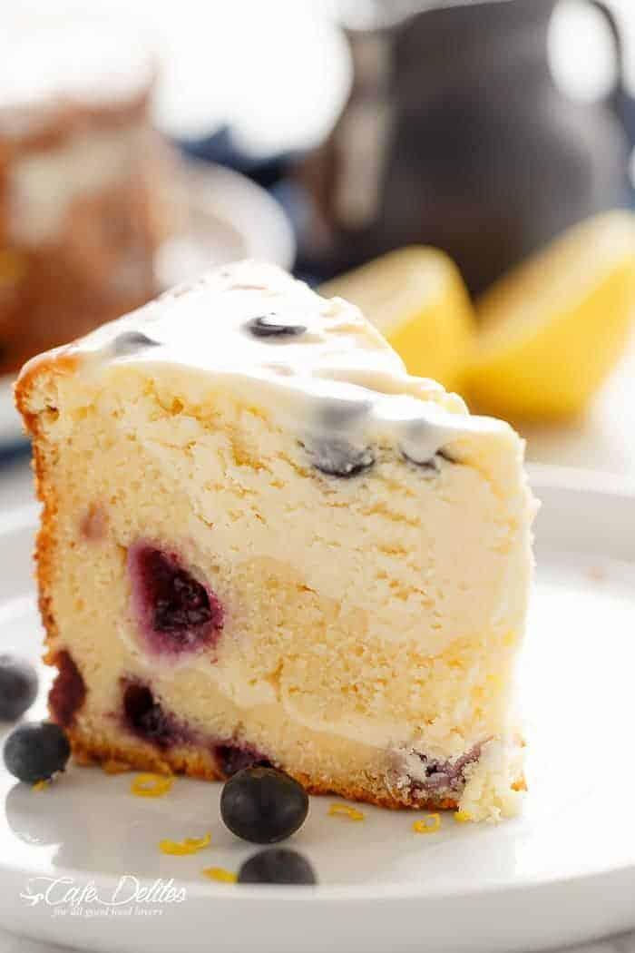 Blueberry Lemon Cheesecake Cake | https://cafedelites.com