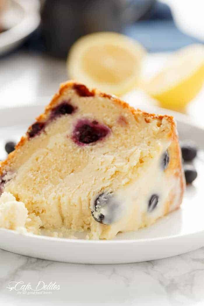 Blueberry Lemon Cheesecake Cake | http://cafedelites.com
