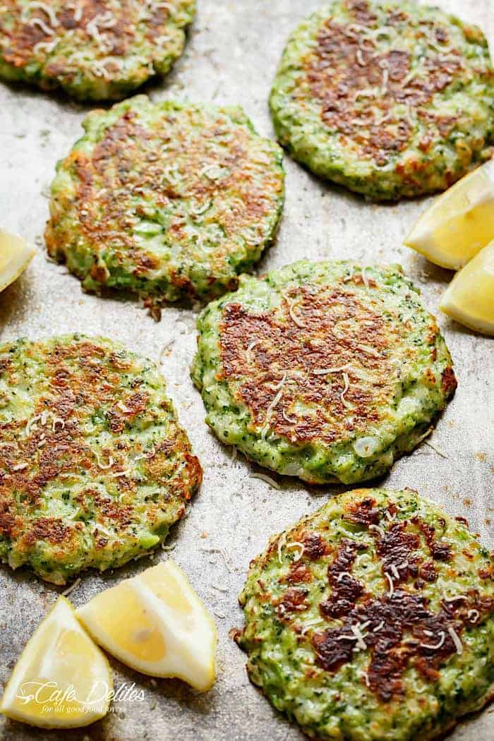 Crispy Broccoli Parmesan Fritters -- baked instead of fried -- is a great way to deliciously stash veggies for both children and adults!   https://cafedelites.com