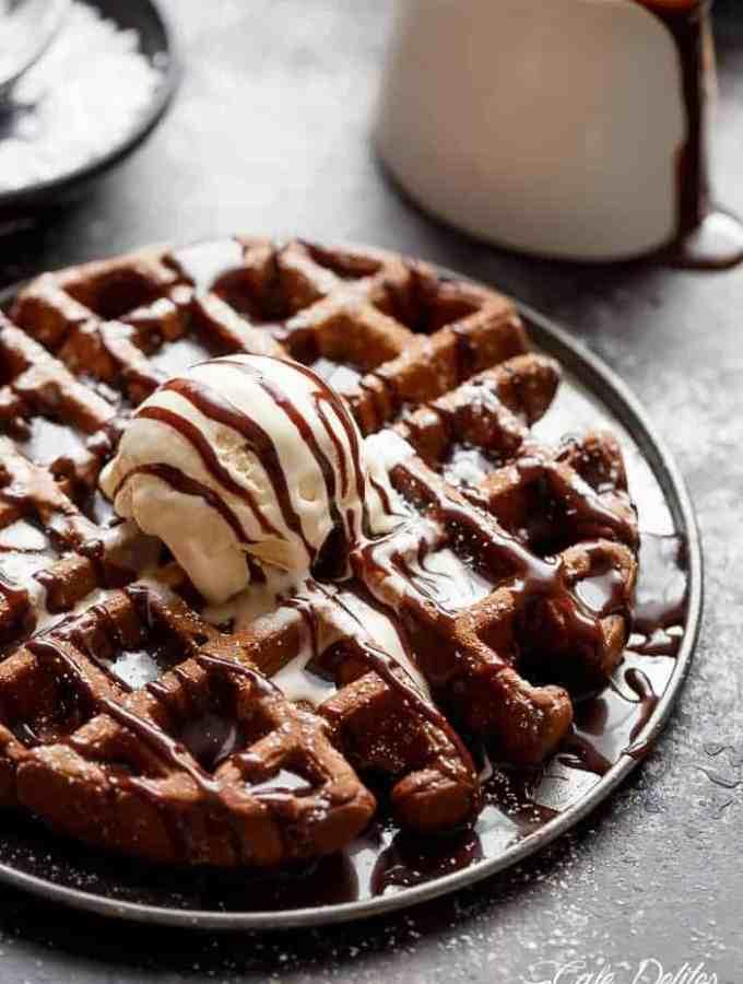 Dark Chocolate Cake Waffles