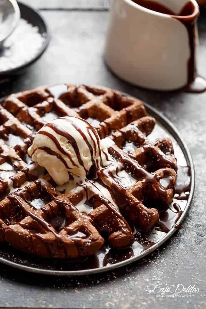 Dark Chocolate Cake Waffles