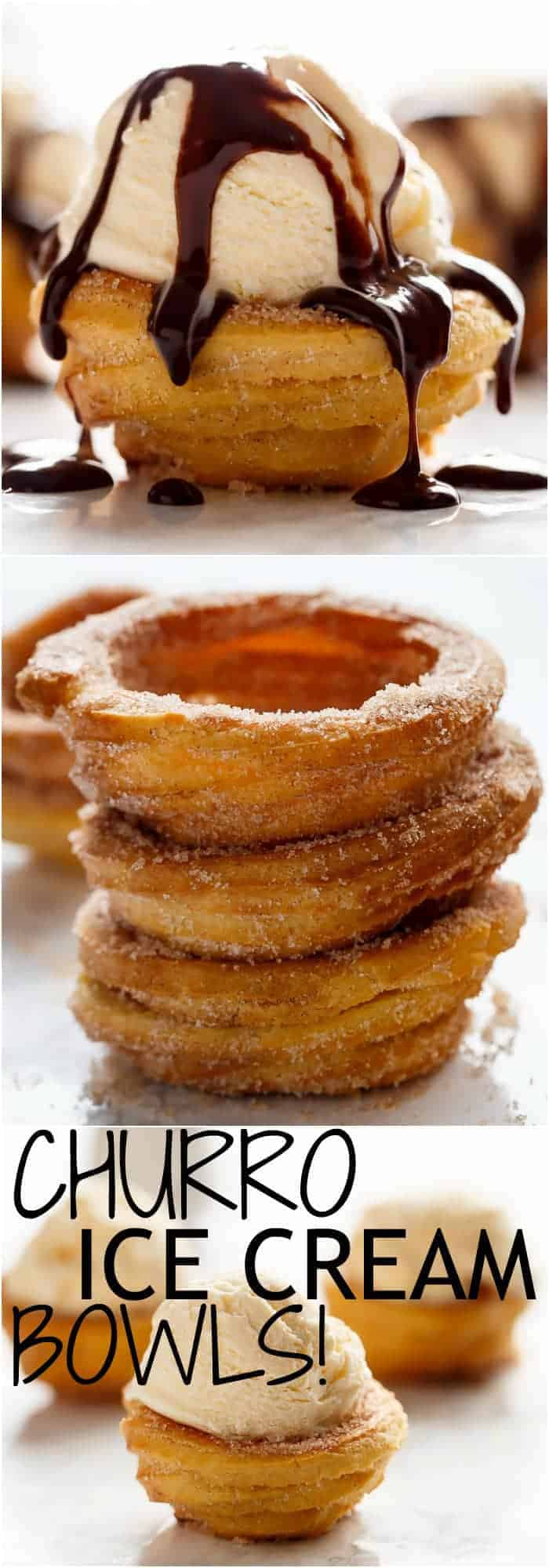 Churro Ice Cream Bowls! Crispy on the outside, soft on the inside, and exactly how a Churro should be...but without deep frying!   http://cafedelites.com