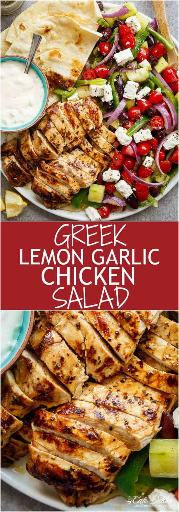 Greek Lemon Garlic Chicken Salad with an incredible dressing that doubles as a marinade! Complete with Tzatziki and homemade flatbreads, it's a winner! | https://cafedelites.com