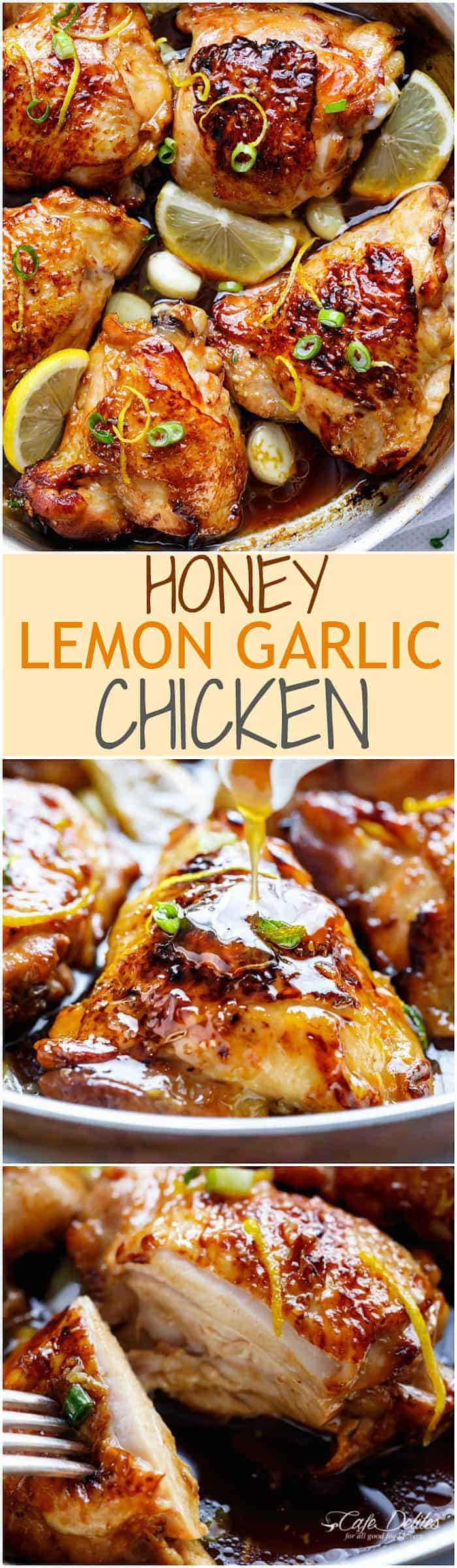 Juicy Honey Lemon Garlic Chicken with a crispy skin and a sweet, sticky sauce with ingredients you have in your kitchen cupboard! | https://cafedelites.com