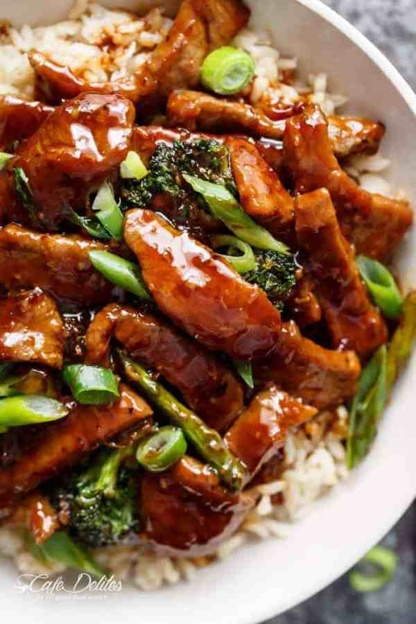 A Mongolian Beef And Broccoli like traditional take-out? With only HALF the oil needed compared to other recipes, this Mongolian Beef is even better! | https://cafedelites.com
