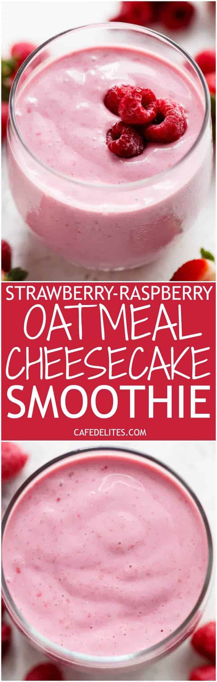 A thick, super creamy and filling Strawberry-Raspberry Oatmeal Cheesecake Smoothie that tastes exactly like a cheesecake....in a glass....for breakfast! | http://cafedelites.com