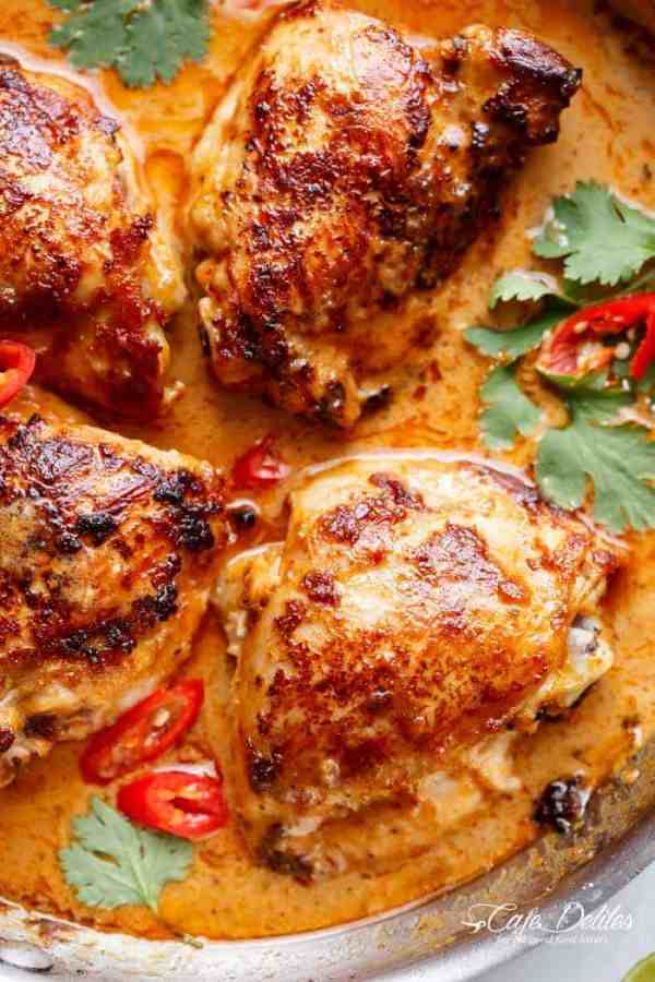 Thai Satay Chicken In A Creamy Peanut Sauce with a special ingredient that makes this satay something spectacular in minutes!   https://cafedelites.com