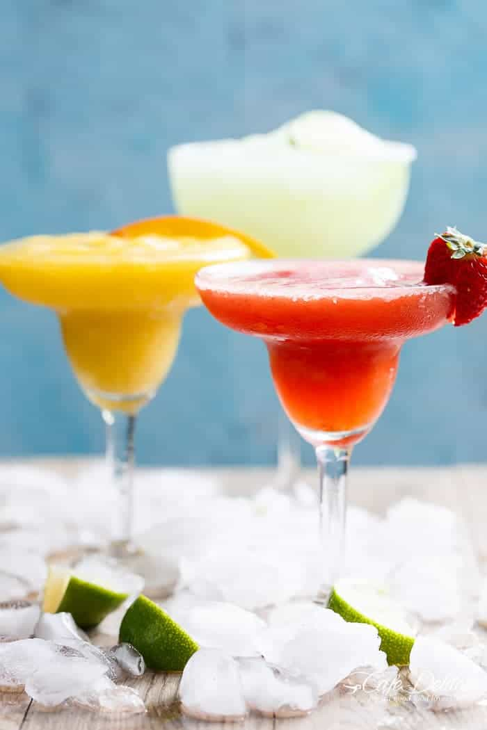 Frozen Strawberry and Mango Margaritas | http://cafedelites.com