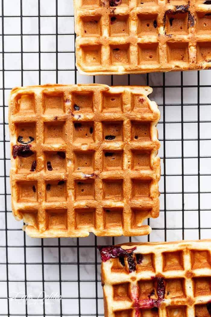 Classic Blueberry Lemon Cheesecake Waffles | https://cafedelites.com