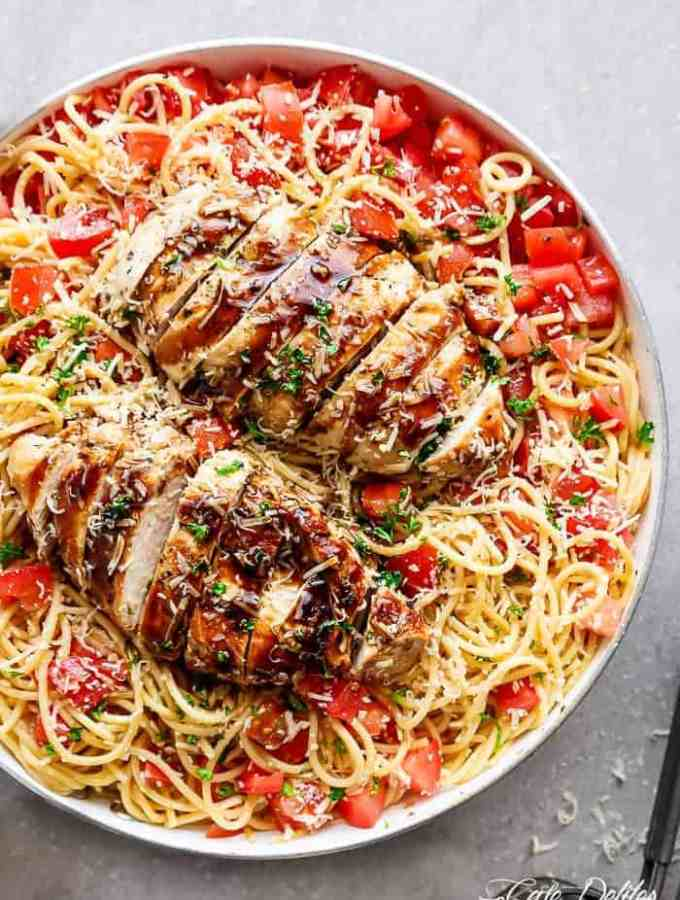 Bruschetta Chicken Pasta Salad