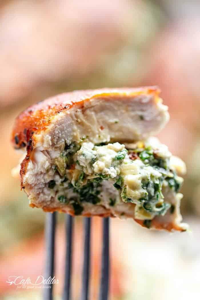 Spinach Artichoke Stuffed Chicken | http://cafedelites.com