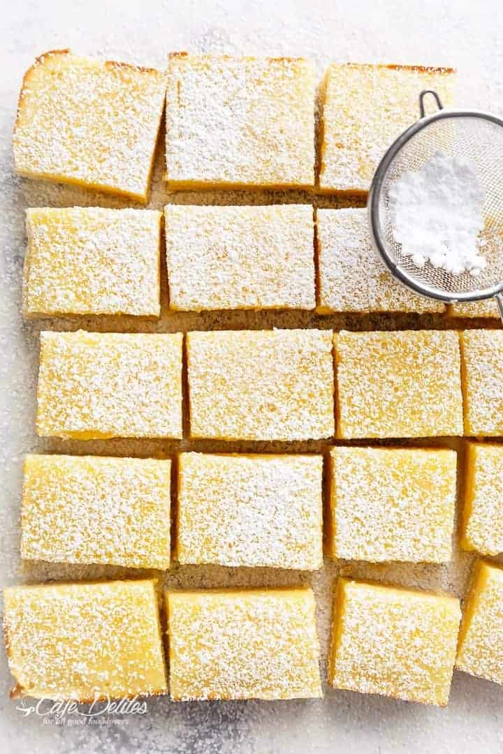101 Calorie Lemon Bars | https://cafedelites.com