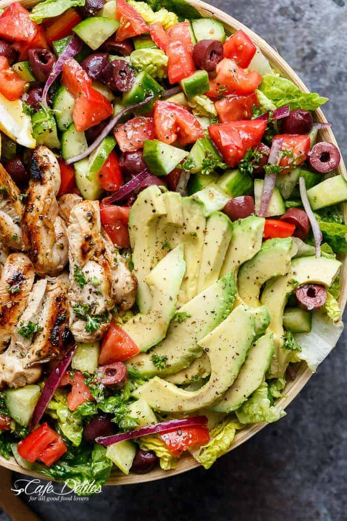 Grilled Lemon Herb Mediterranean Chicken Salad | http://cafedelites.stfi.re