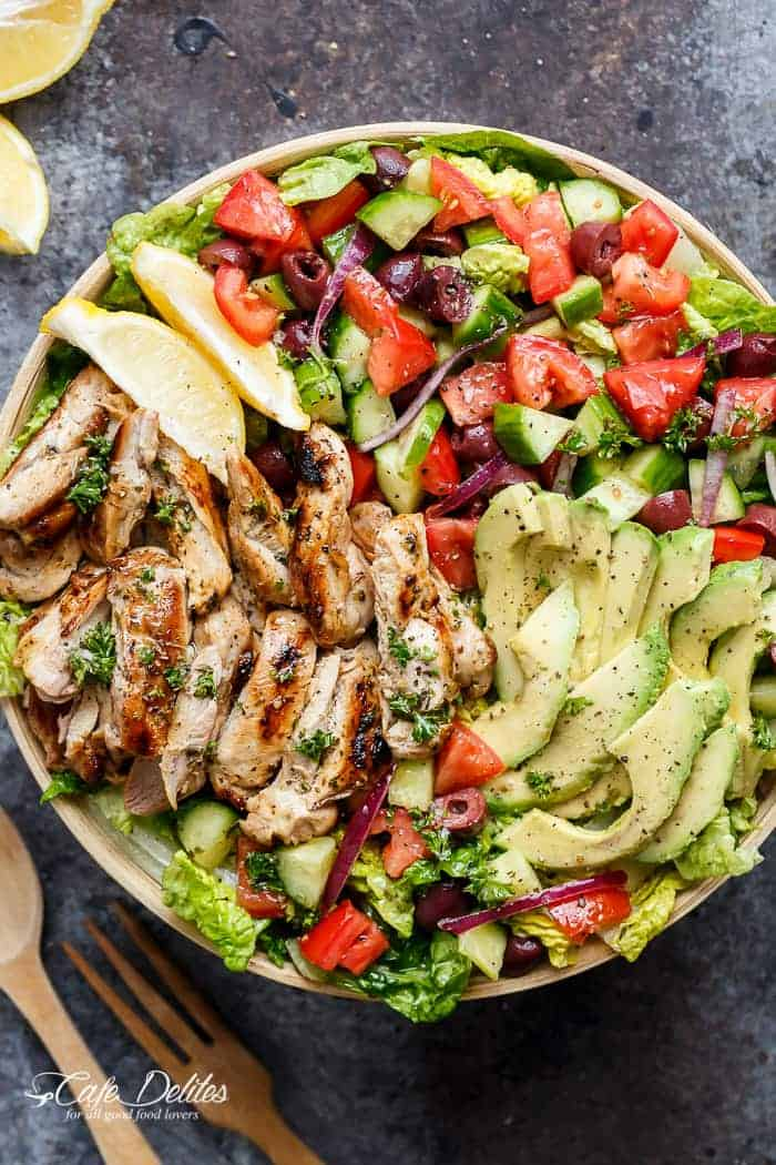 Grilled Lemon Herb Mediterranean Chicken Salad that is full of Mediterranean flavours with a dressing that doubles as a marinade! | https://cafedelites.com