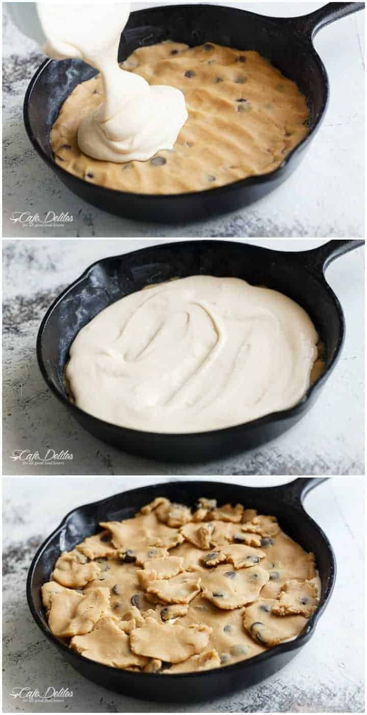 Cheesecake Stuffed Chocolate Chip Skillet Cookie   https://cafedelites.com