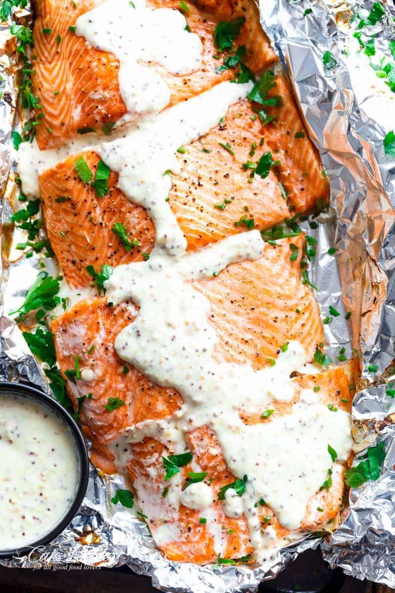 Garlic Salmon In Foil With Honey Mustard Cream Sauce | https://cafedelites.com