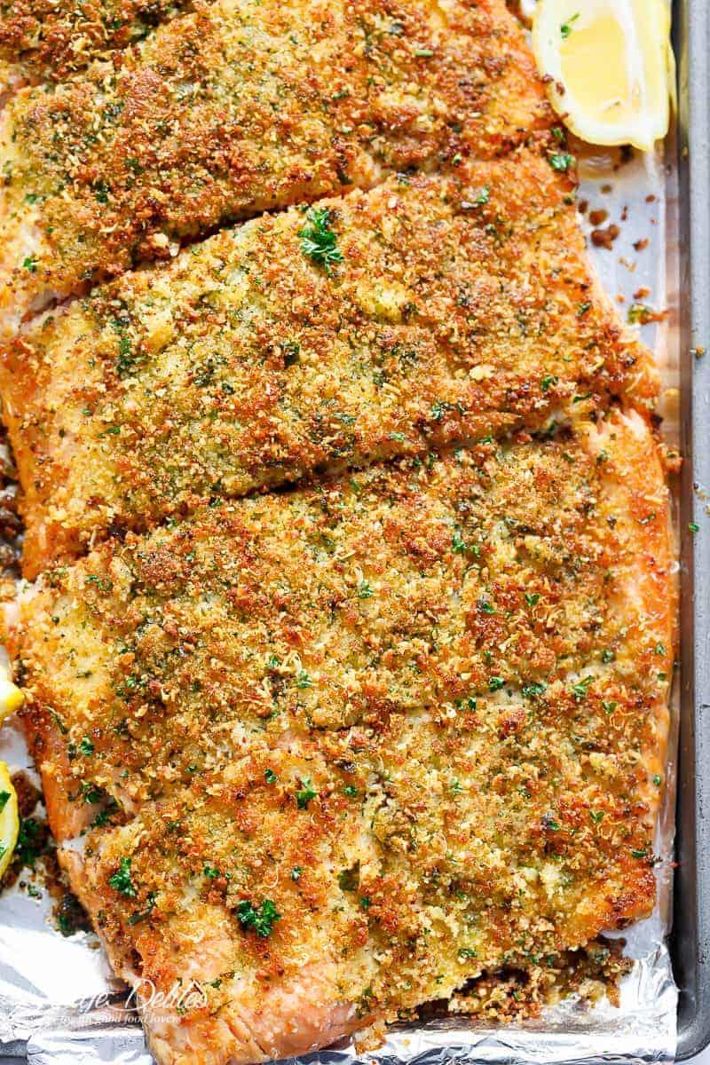 Crispy Garlic Parmesan Salmon is ready in under 15 minutes!