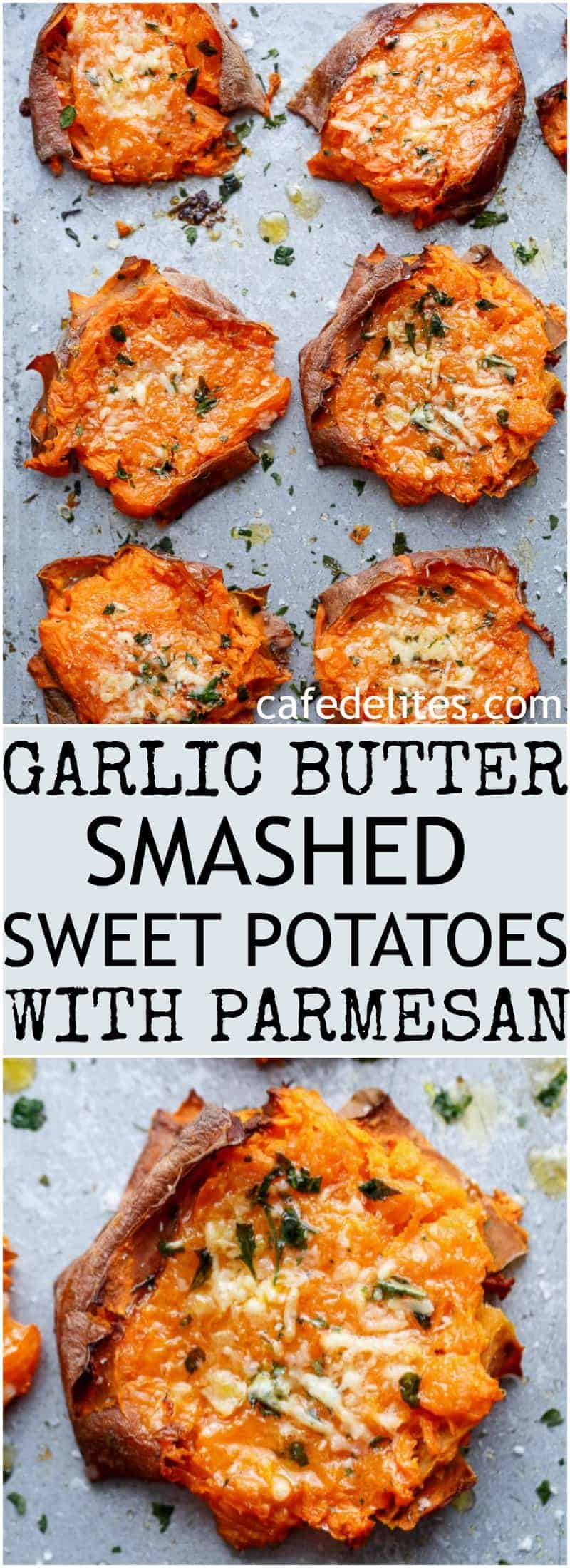 Garlic Butter Smashed Sweet Potatoes With Parmesan Cheese are crispy ...