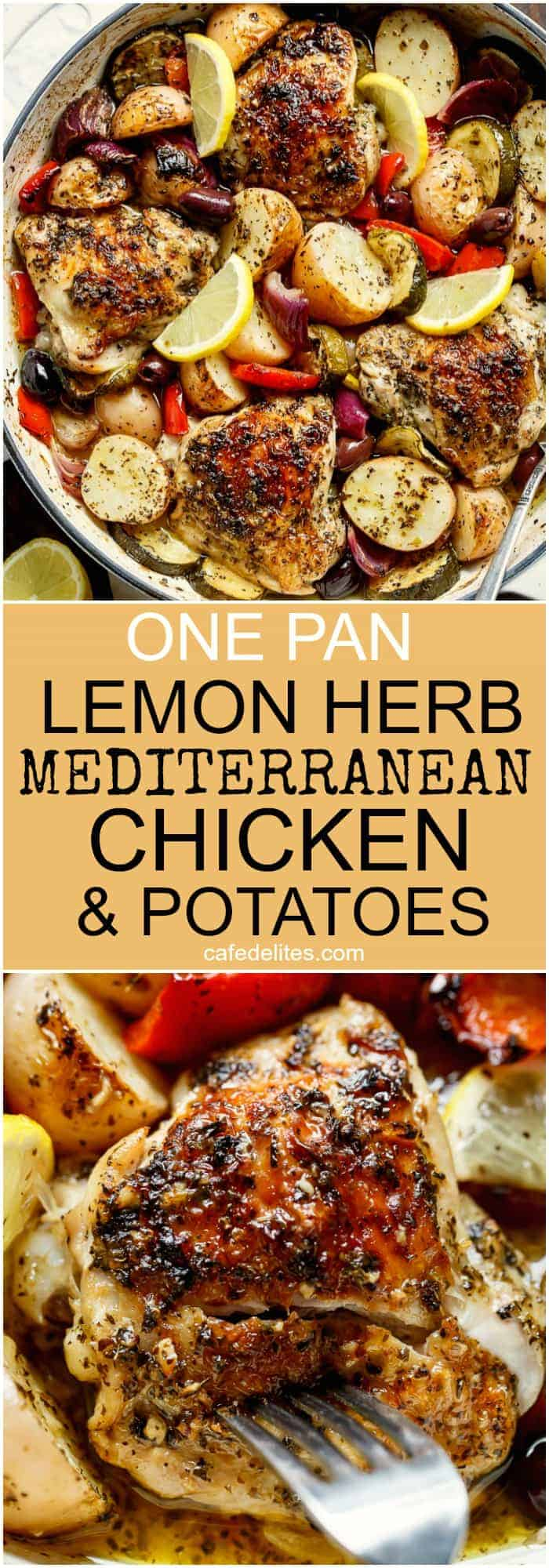 Garlic lemon herb mediterranean chicken potatoes one pan cafe garlic lemon herb mediterranean chicken and potatoes all made in the one pan for an forumfinder Images