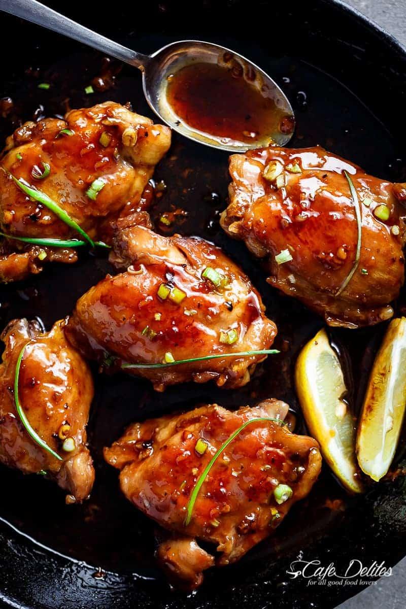 Garlic Teriyaki Chicken Thighs | https://cafedelites.com