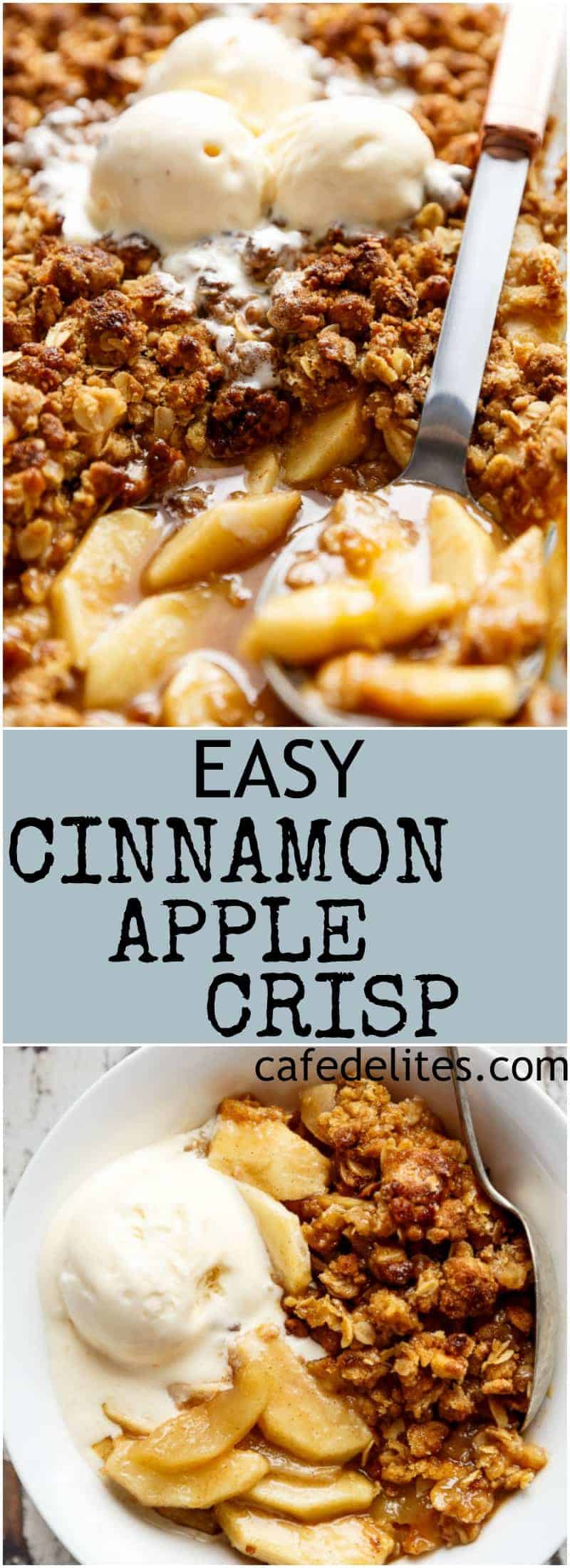 Easy Cinnamon Apple Crisp is absolutely foolproof! A juicy and jammy apple pie filling is covered with a crispy cookie-like topping, this crumble with become your favourite dessert! | https://cafedelites.com