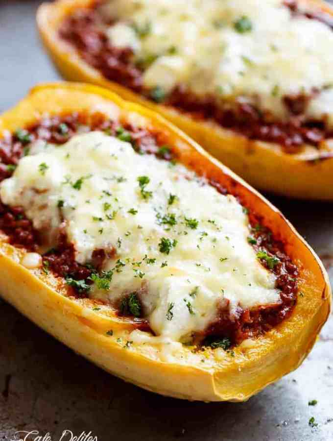 Spaghetti Squash Lasagna Boats are an easy, low carb answer to lasagna! With layers of spaghetti squash, bolognese sauce, creamy ricotta and mozzarella! | http://cafedelites.com