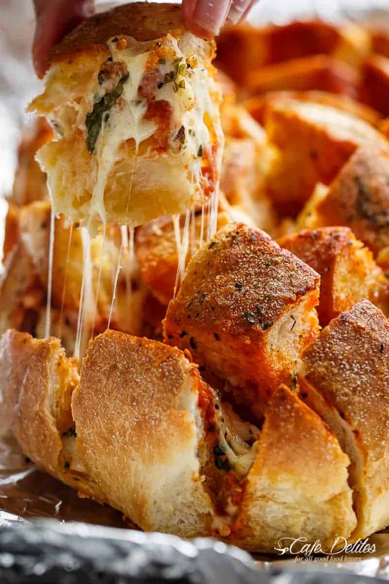 Garlic Butter Pizza Pull Apart Bread | https://cafedelites.com