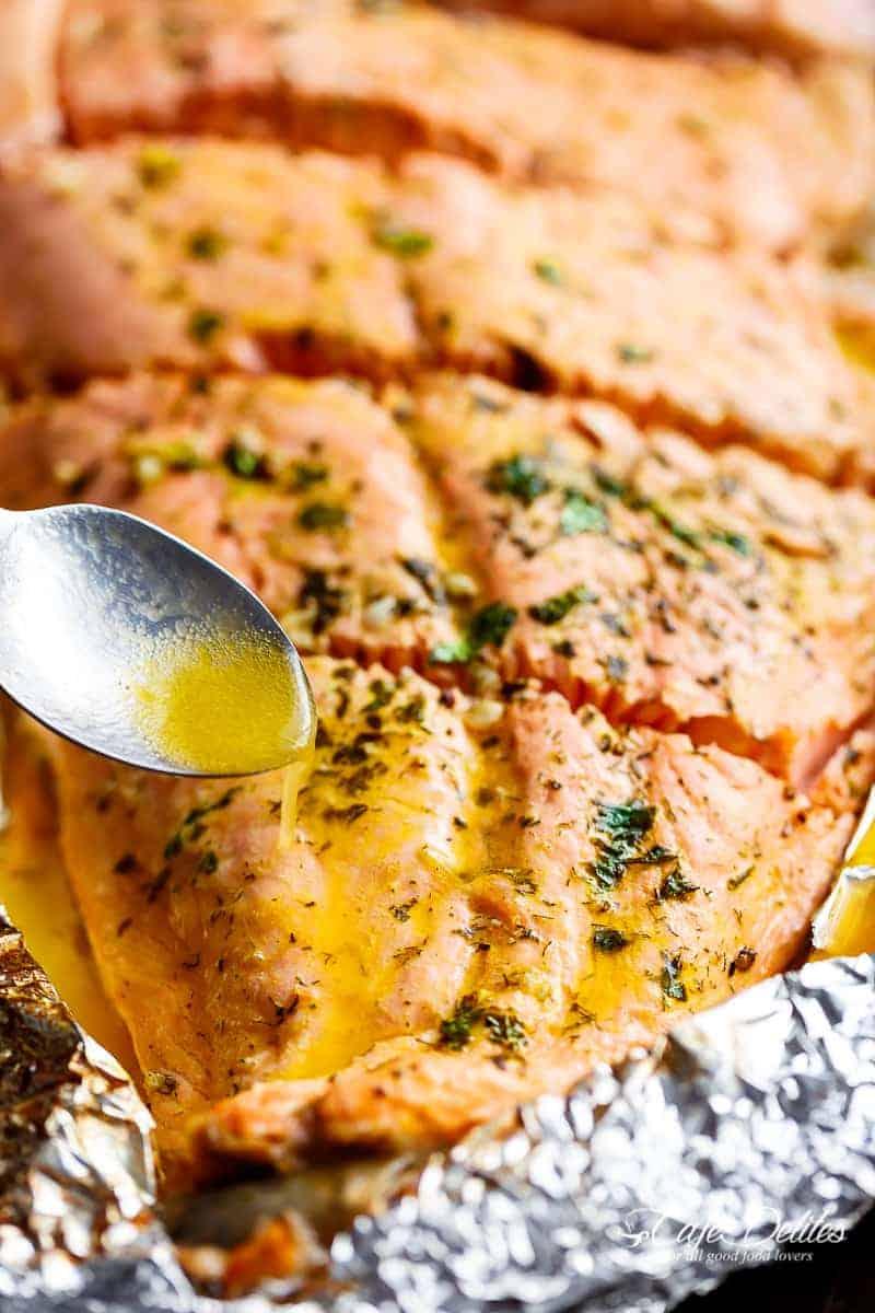 Lemon Butter Garlic Salmon | http://cafedelites.com