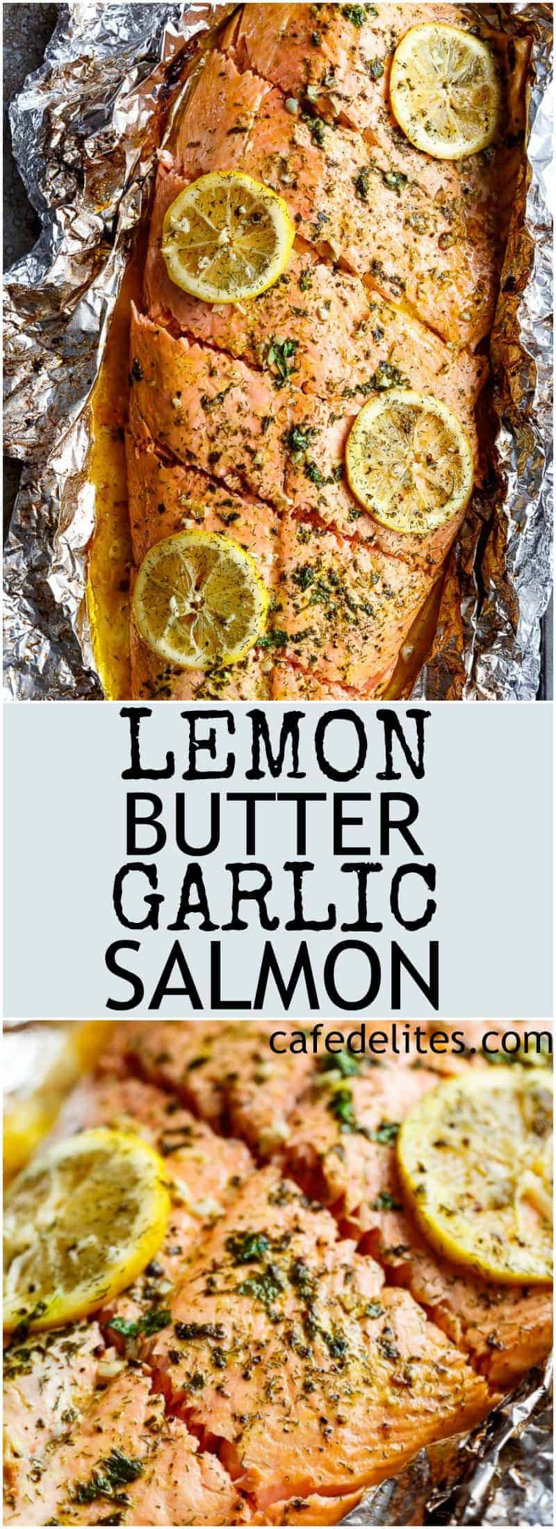 Lemon Butter Garlic Salmon with only a handful of ingredients, with maximum taste and minimal clean up! | https://cafedelites.com