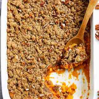 Sweet Potato Casserole (Lightened Up) with a cool trick to cook your sweet potatoes in a QUARTER amount of time for last minute preparation! | http://cafedelites.com