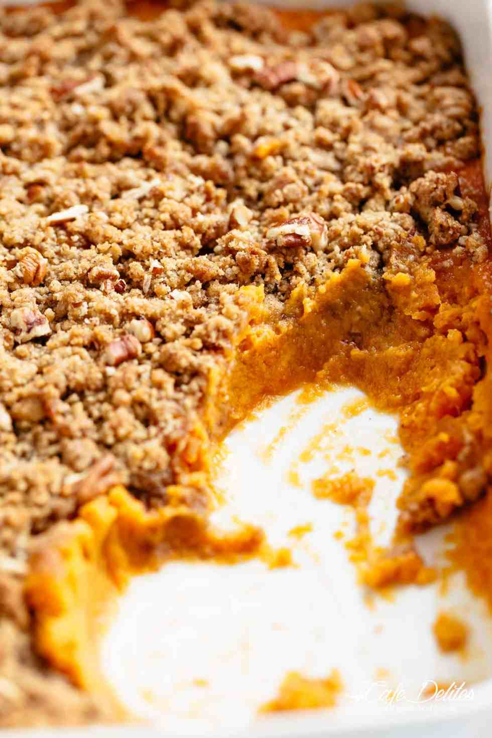 Sweet Potato Casserole with a tricks to cook your sweet potatoes in a QUARTER amount of time for last minute preparation! | cafedelites.com