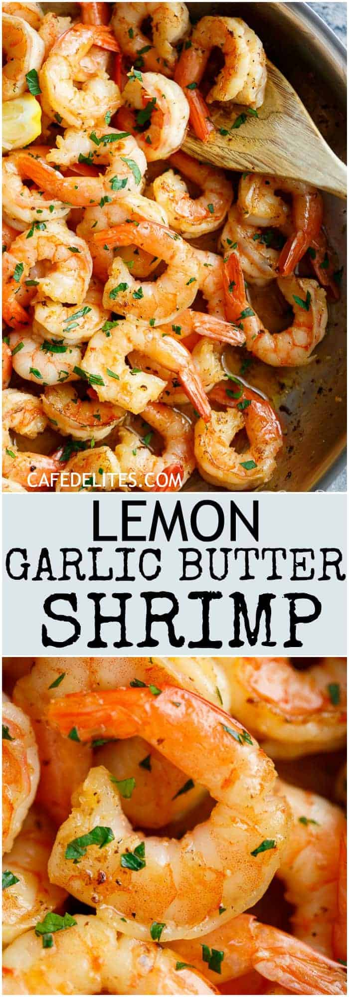Lemon Garlic Butter Shrimp is the most easiest and flavour packed shrimp! With the best flavour combination and ready in under 15 minutes, this easy to throw together meal can be served over anything! | https://cafedelites.com
