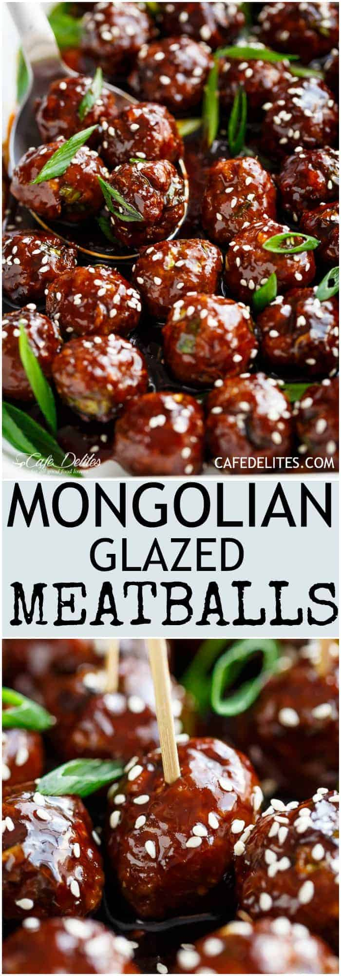 Tender Mongolian Glazed Meatballs are not only FILLED with Asian flavour -- they are smothered in the BEST homemade Mongolian sauce to wow your guests! | https://cafedelites.com