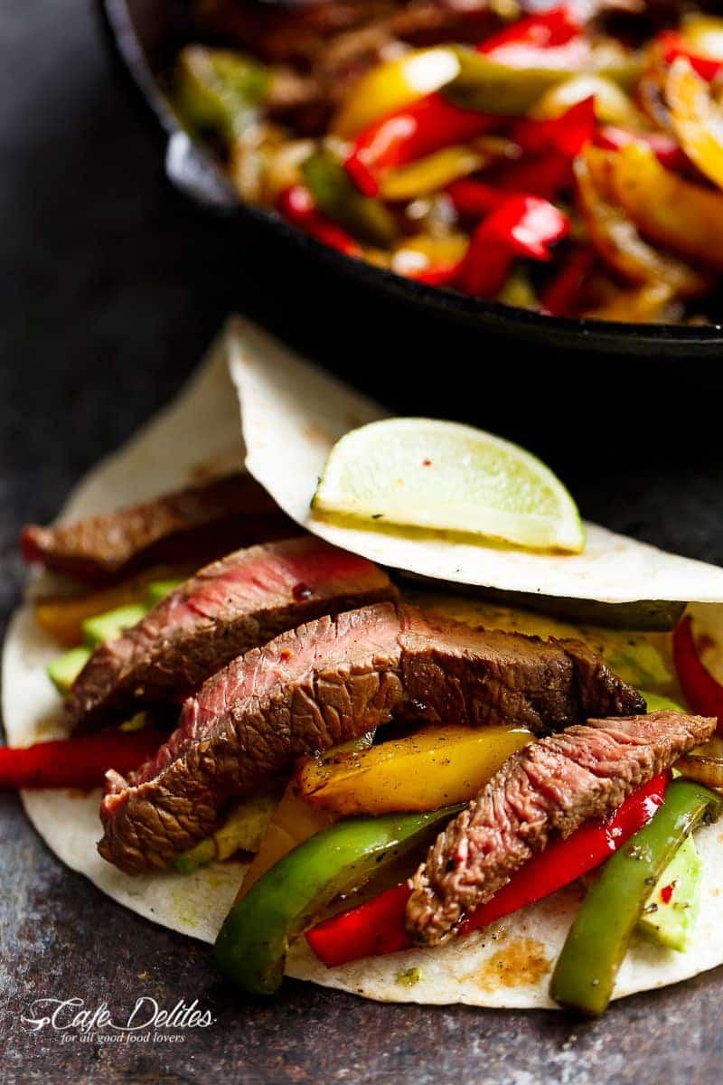 Chili Lime Steak Fajitas - Cafe Delites