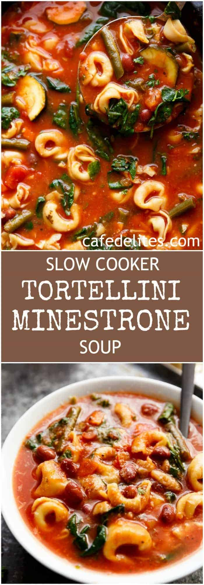 Slow Cooker Tortellini Minestrone Soup is a twist on the traditional minestrone, using tortellini instead of plain pasta! Delicious comfort food in a bowl! | https://cafedelites.com