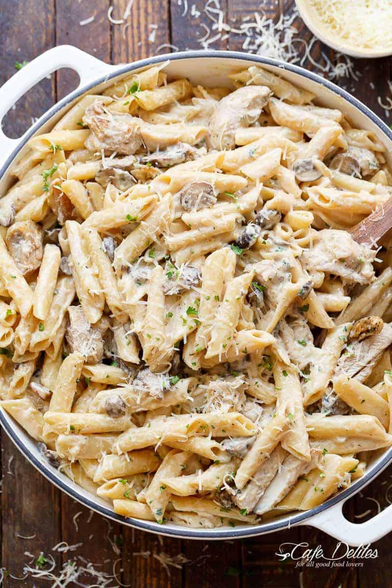 Tasty pasta with mushrooms in creamy sauce: recipe